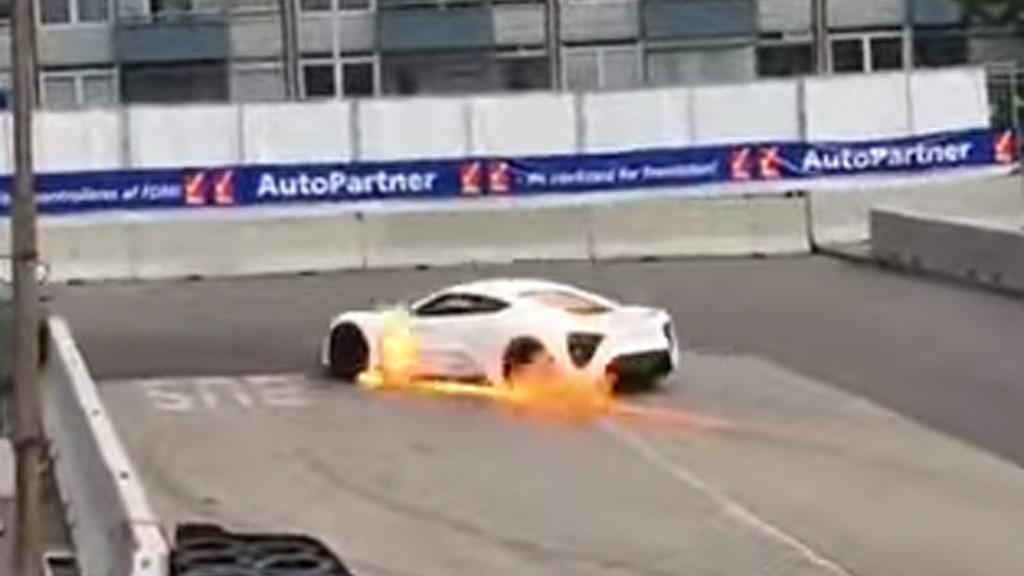 Zenvo ST1 on fire