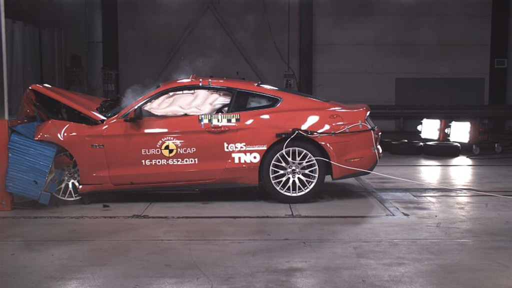 2017 Ford Mustang GT during Euro NCAP crash test