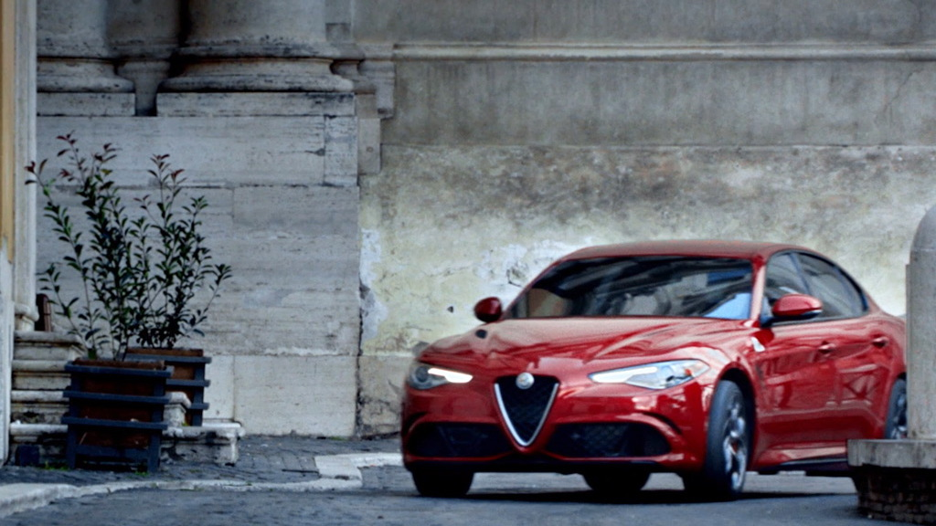 Scene from Alfa Romeo ad aired during Super Bowl LI