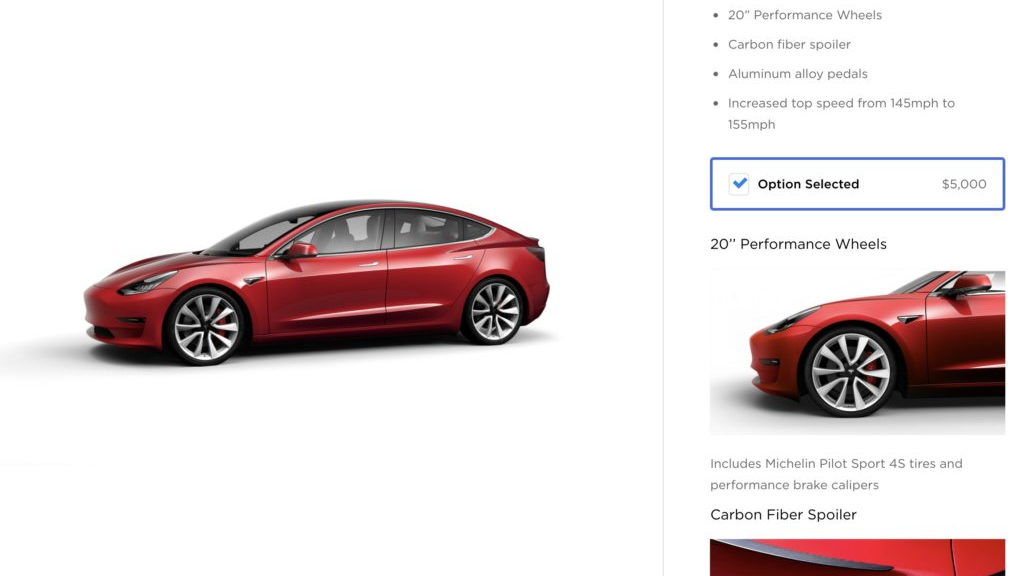 Tesla Model 3 order configurator 6/18 Performance upgrade  [Image via Teslarati]