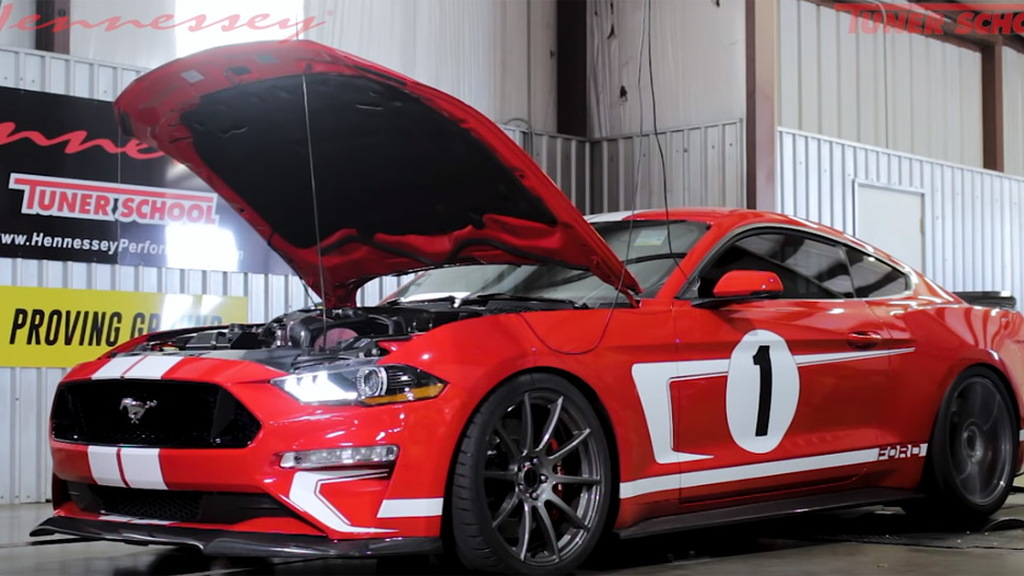 2019 Hennessey Heritage Edition Ford Mustang on the dyno