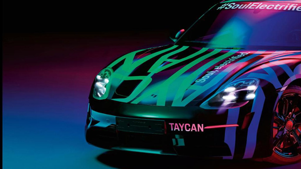 Teaser for Porsche Taycan debuting in September 2019