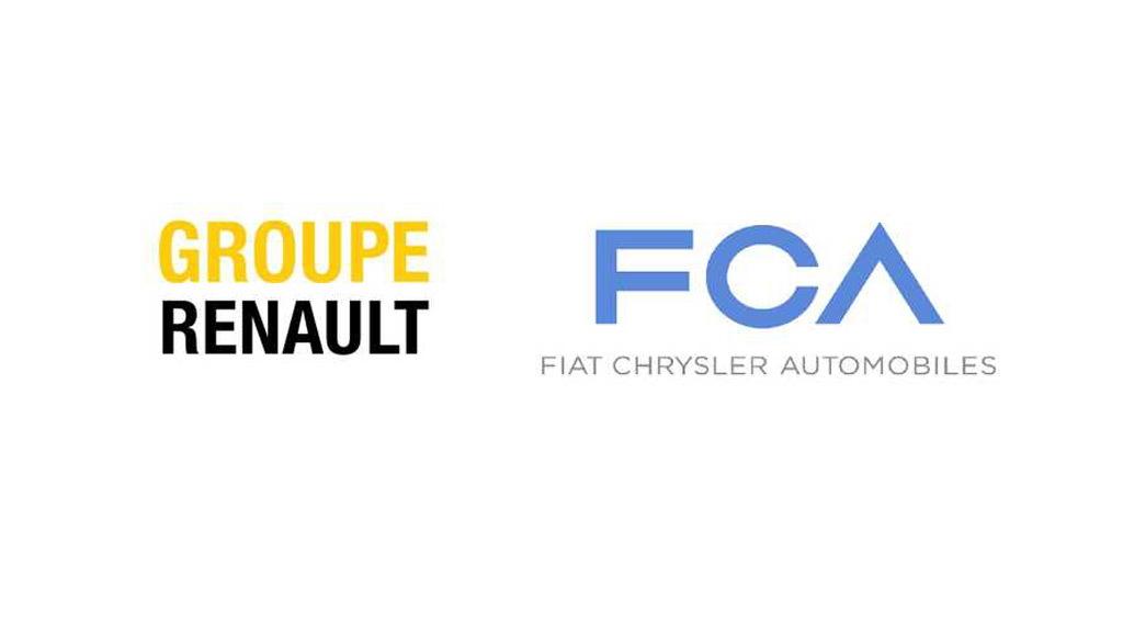 Renault logo and Fiat Chrysler Automobiles logo