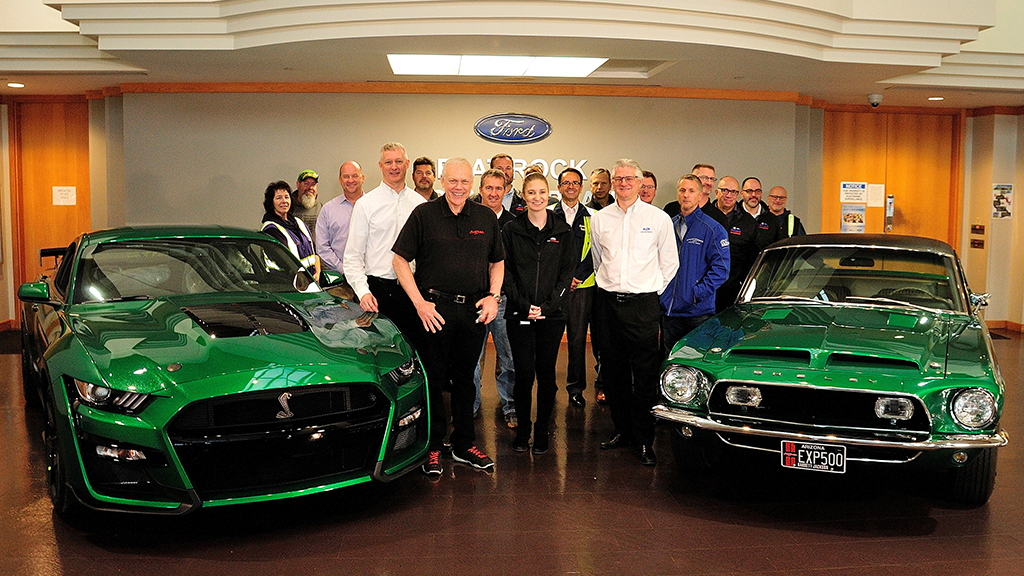 "2020 Ford Mustang Shelby GT500 with VIN ending in 001 and the original Shelby ""Green Hornet"""