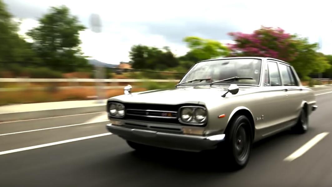 Jay Leno examines a 1969 Nissan Skyline GT-R Hakosuka