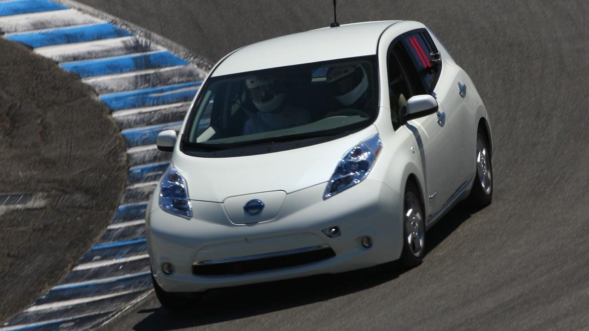 Nissan Leaf on track at Laguna Seca. Photo via MyNissanLeaf forum member nader.