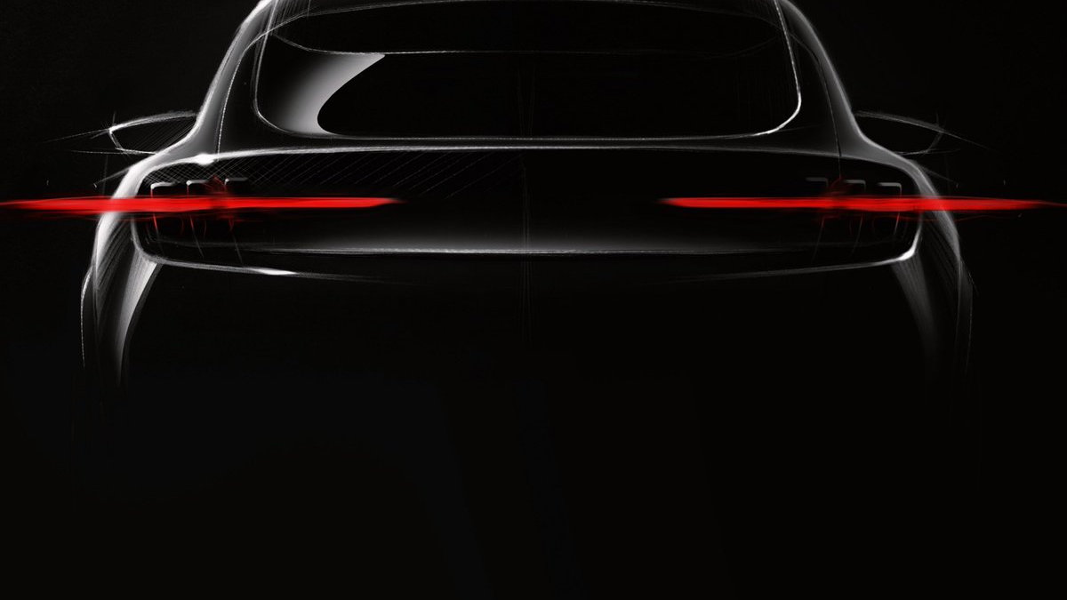 Teaser for Ford Mustang Mach-E debuting at 2019 Los Angeles Auto Show