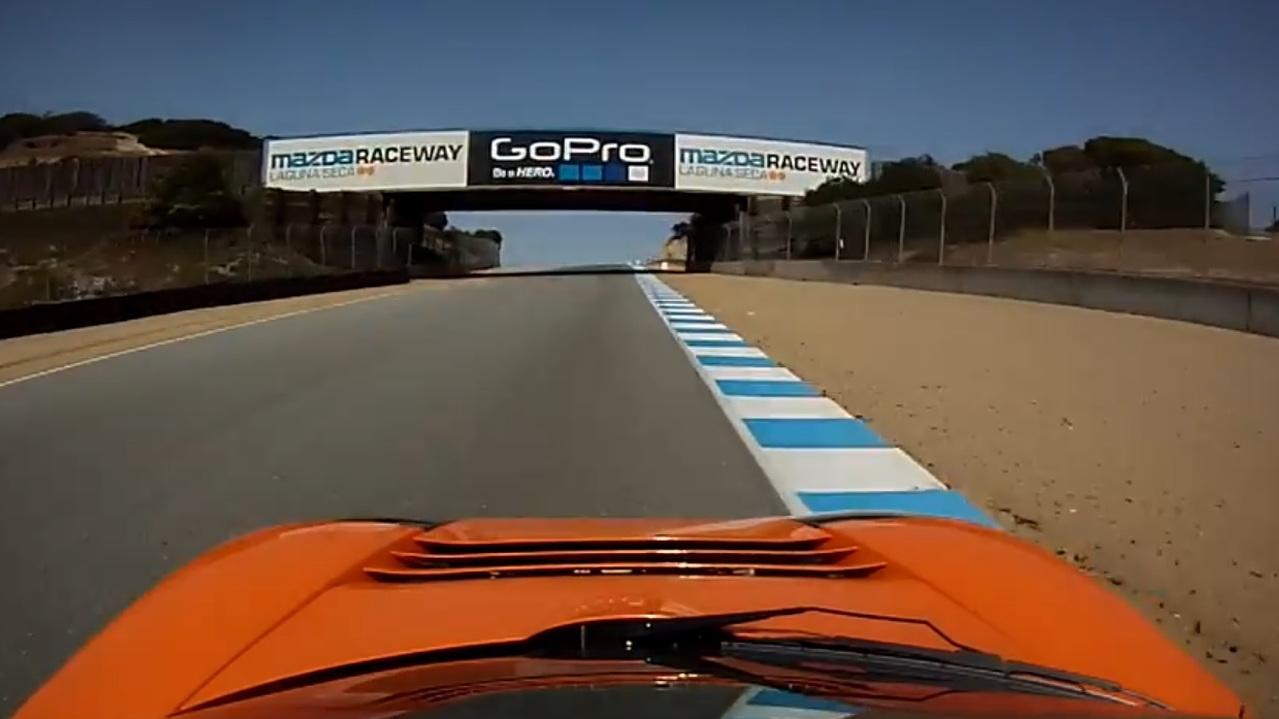 Tesla Roadster driven by Joe Nuxoll on Laguna Seca racetrack, Re:Fuel event, June 2013