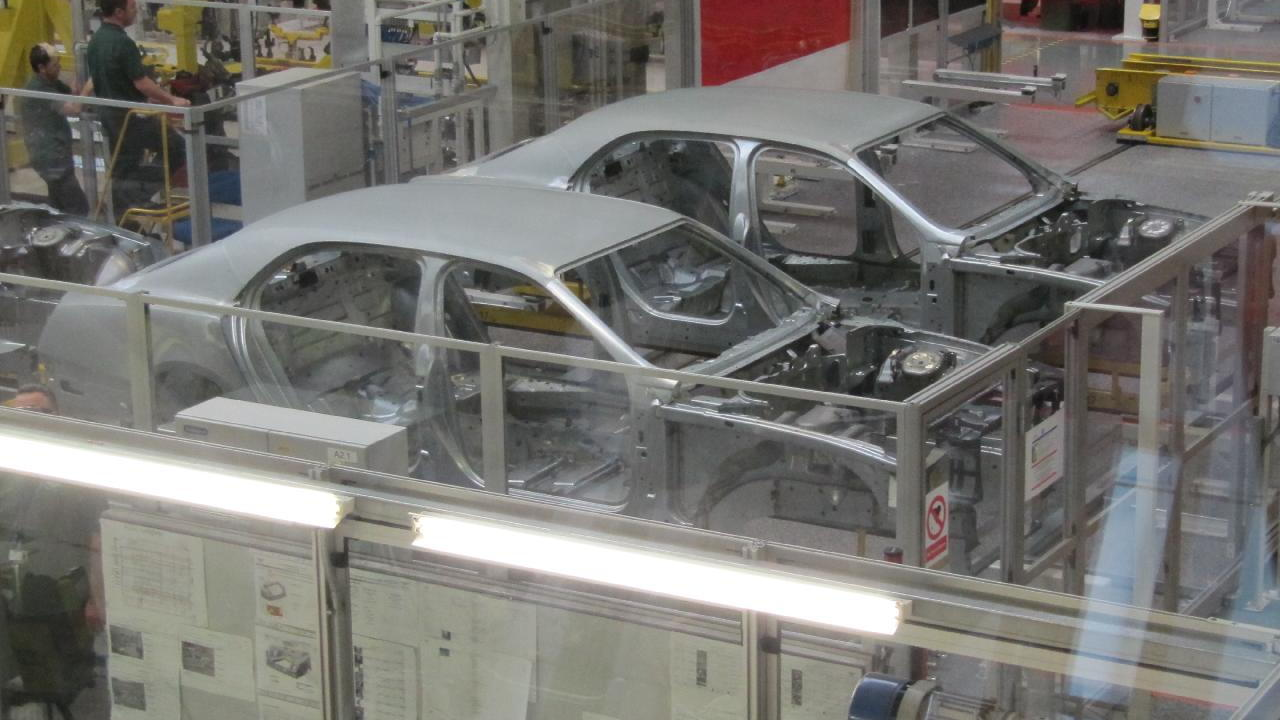 Bentley works, Crewe - Mulsanne shells during assembly process