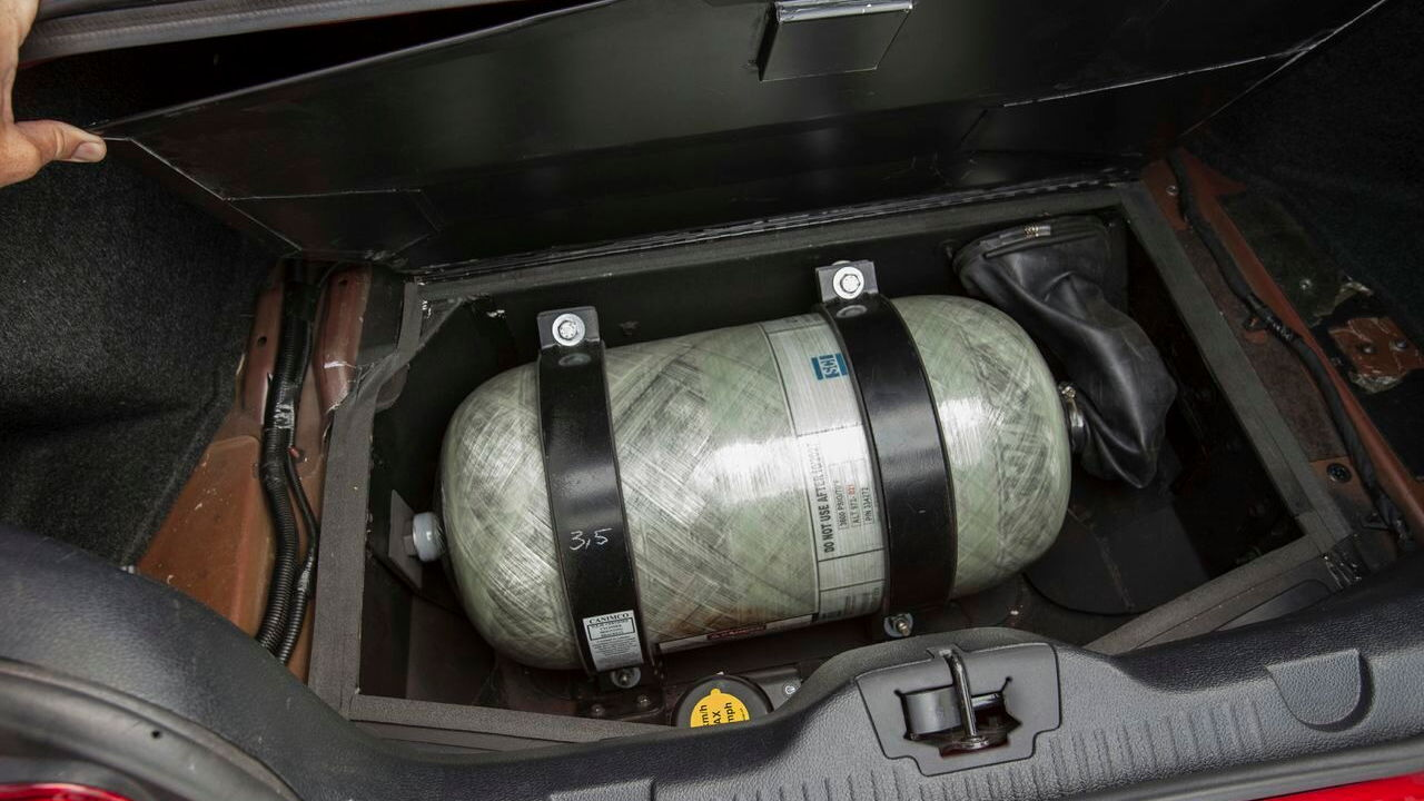 Natural-gas vehicle prototypes, Los Angeles, May 2013 - gas tank under Hyundai Sonata trunk