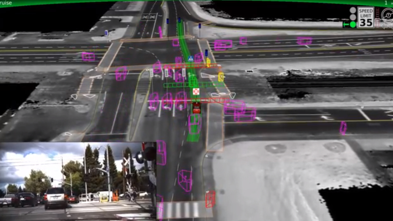 Google self-driving car demonstration screencap