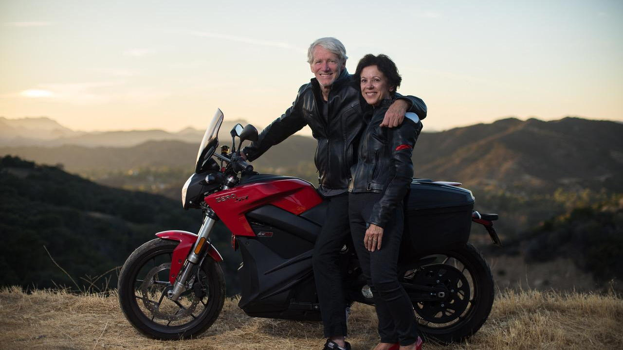 Paul Scott and Barbara with Zero electric motorcycle  [photo: Charles Ryan-Barber]