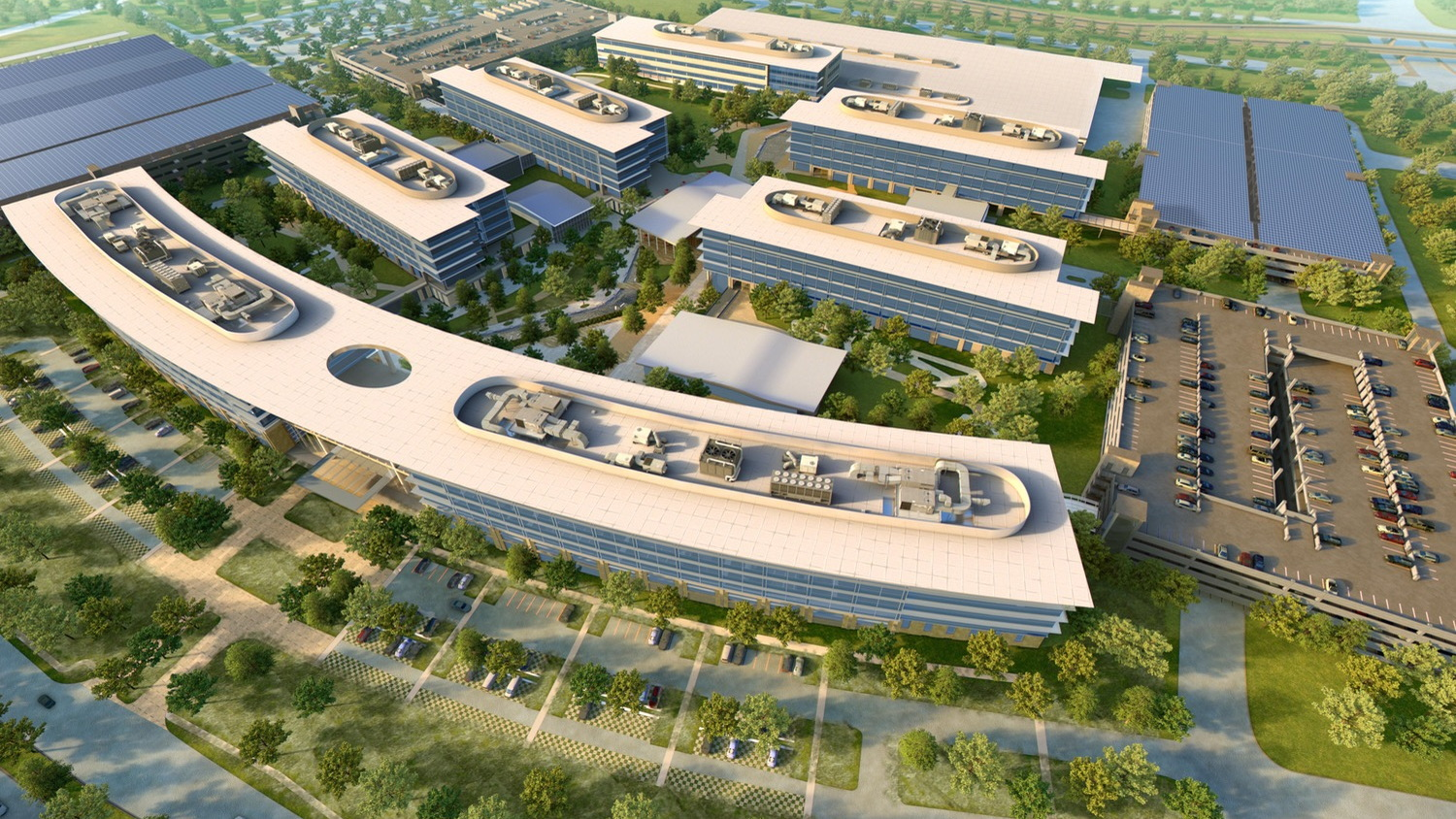Rendering of solar installations at Toyota North America headquarters, Plano, Texas