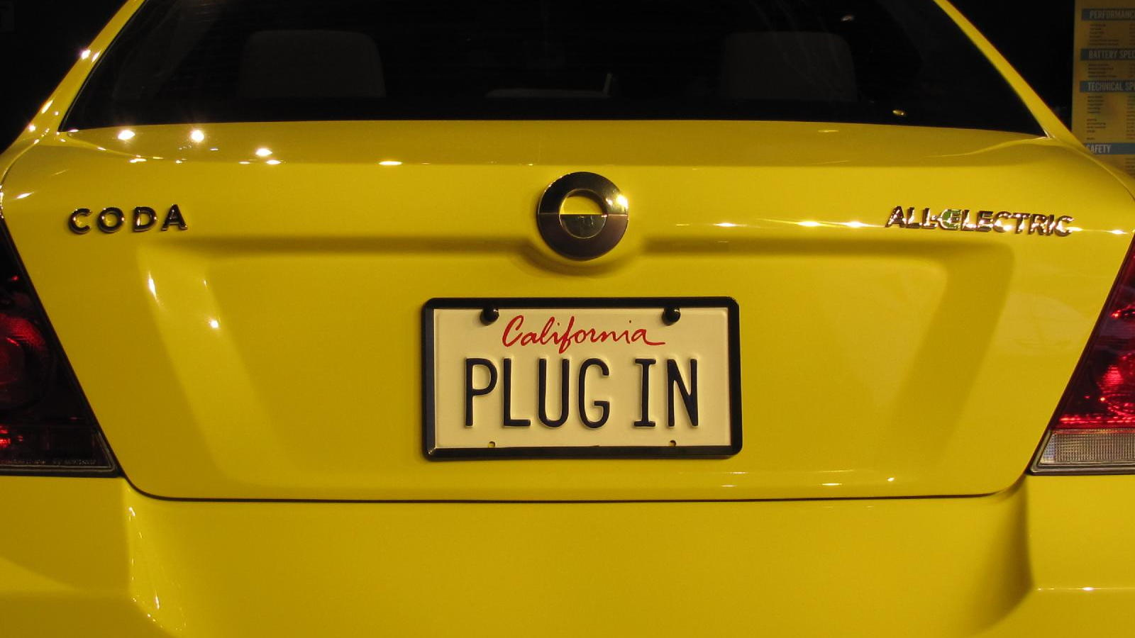 2011 Coda Sedan electric car, 'Plug In' license plate, 2010 Los Angeles Auto Show