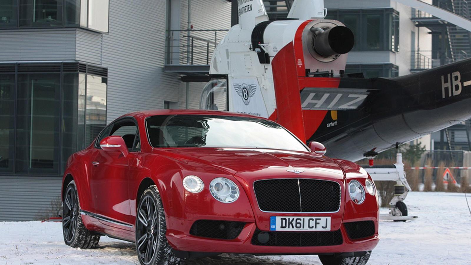 2013 Bentley Continental V8 GT flies over Munich