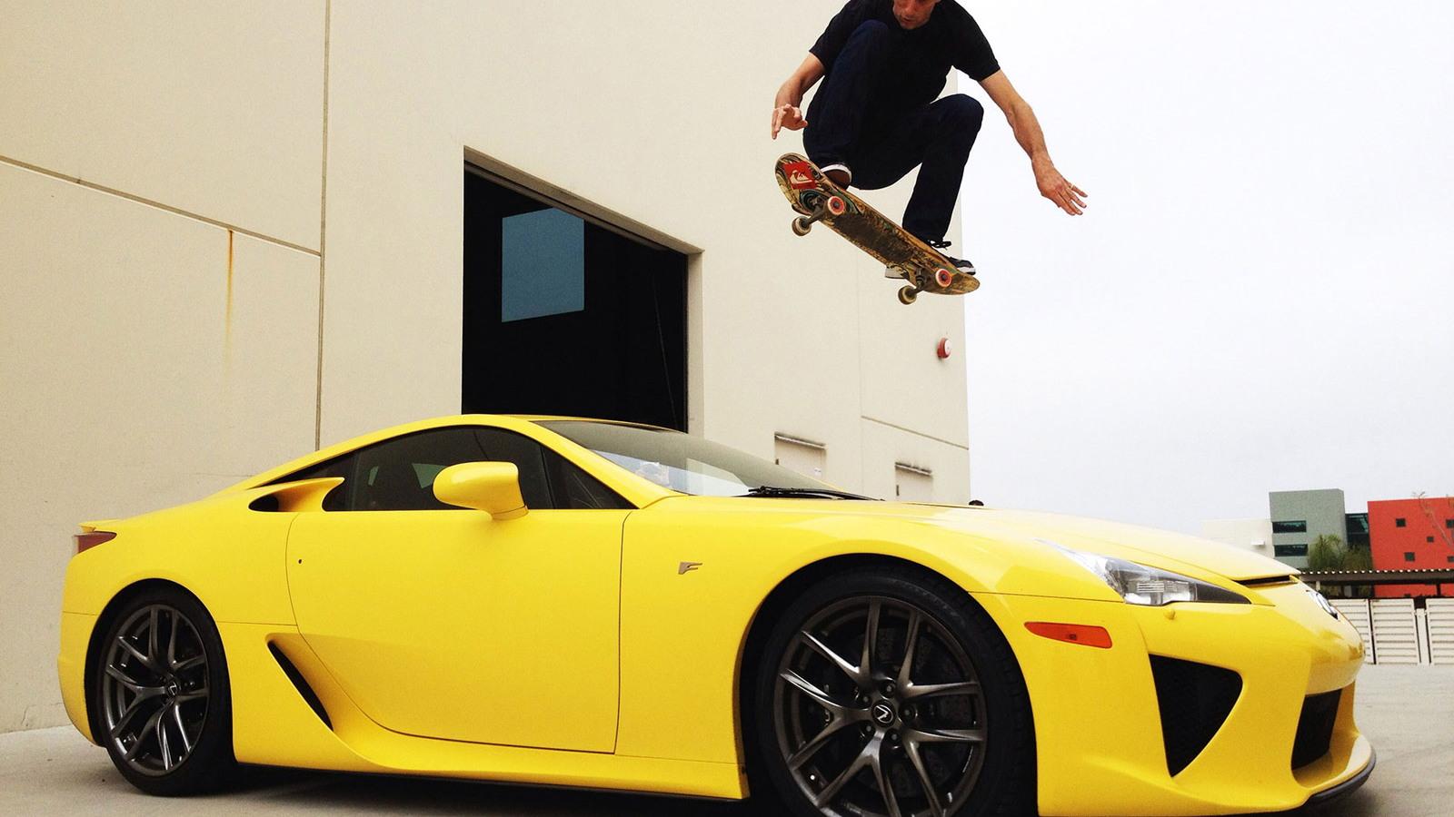 Tony Hawk jumping over an LFA supercar loaned to him by Lexus