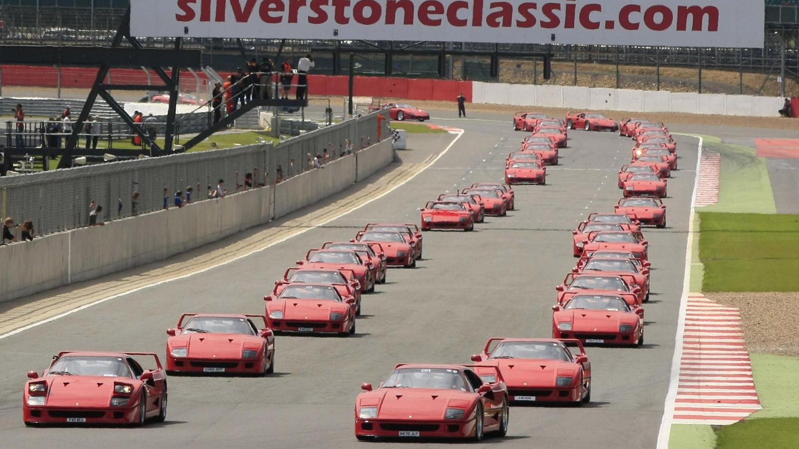 Record gathering of 60 Ferrari F40s attend 2012 Silverstone Classic