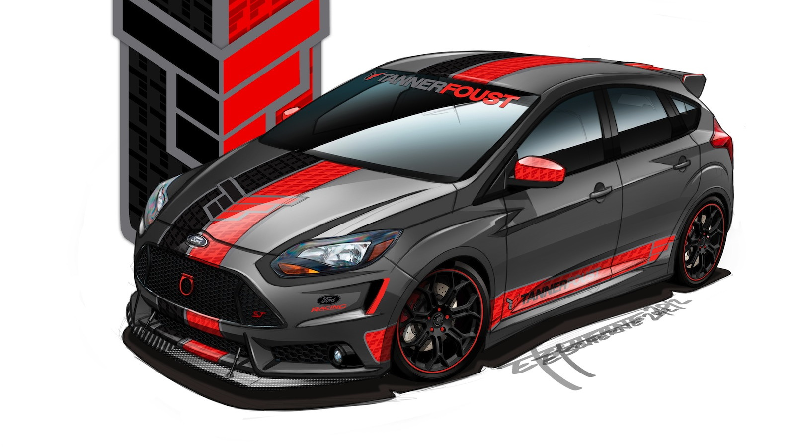 2013 Ford Focus ST built by Tanner Foust Racing for SEMA 2012