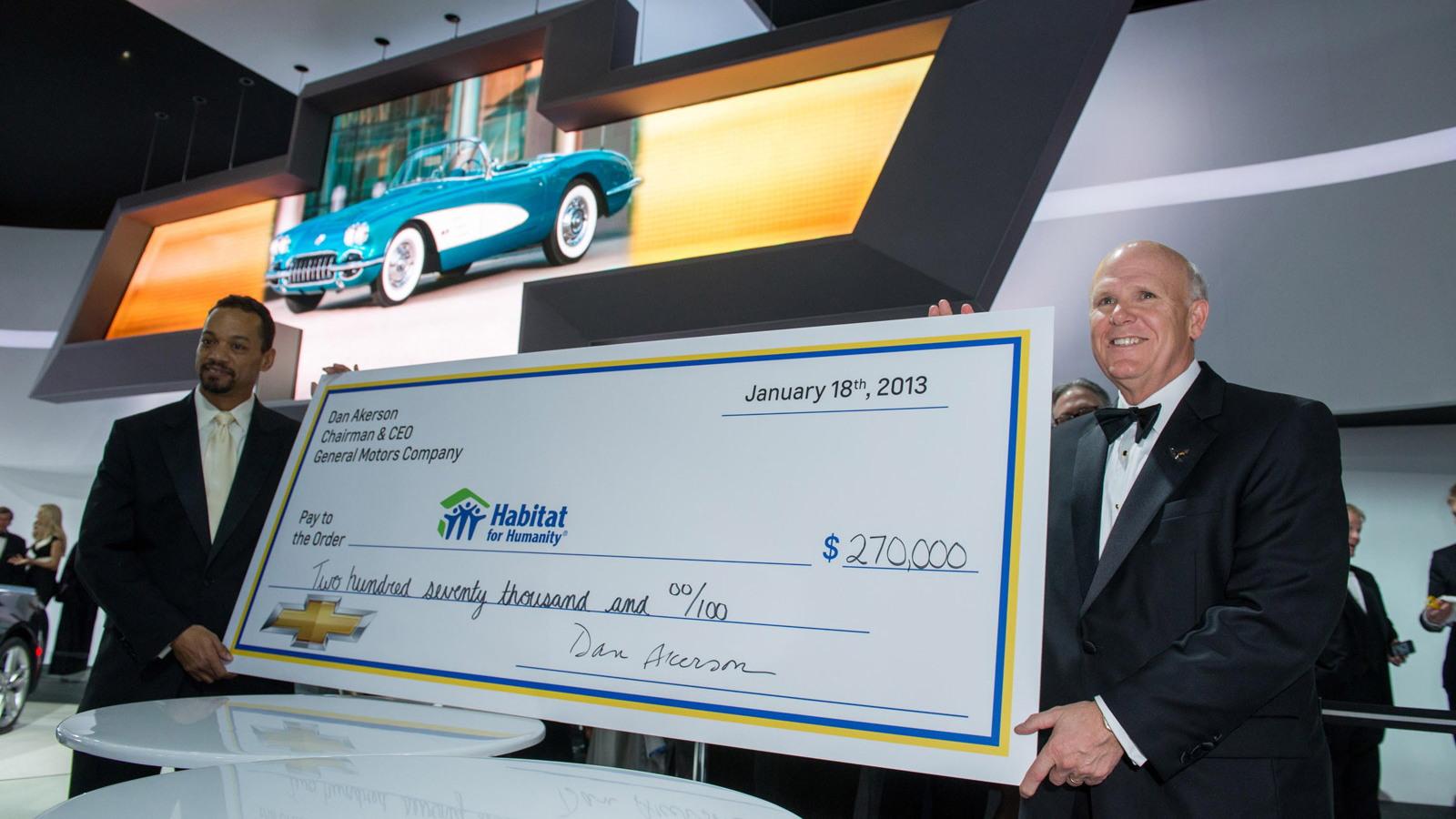 GM CEO Dan Akerson following the auction of his 1958 Chevrolet Corvette