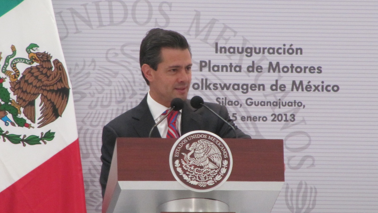 Enrique Pena Nieto, president of Mexico, speaks at opening of Volkswagen engine plant, Silao, Mexico