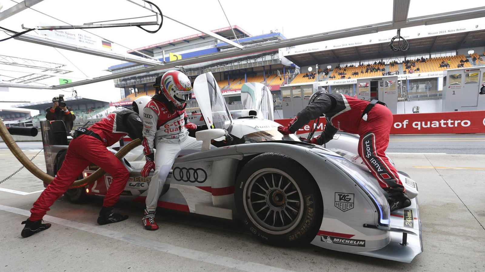 Audi during official testing for 2013's 24 Hours of Le Mans