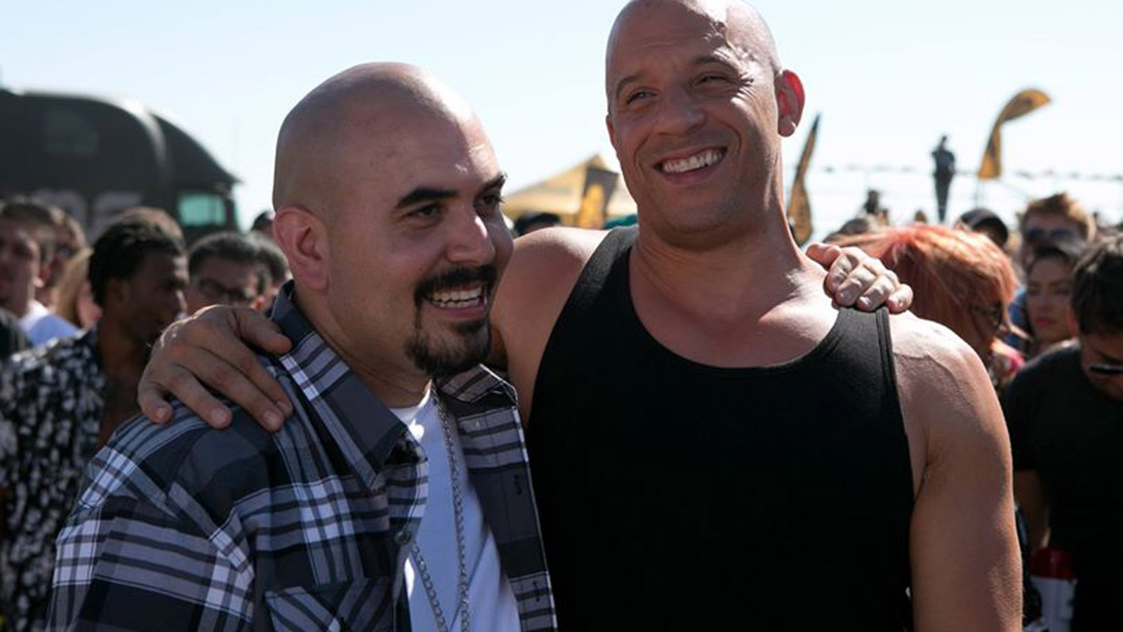 Noel Gugliemi and Vin Diesel in 'Furious 7'