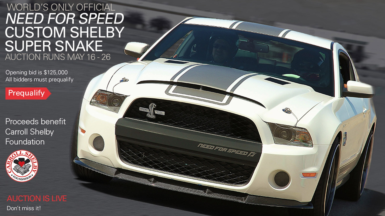 2011 Ford Shelby GT500 Super Snake Need for Speed Edition auction banner
