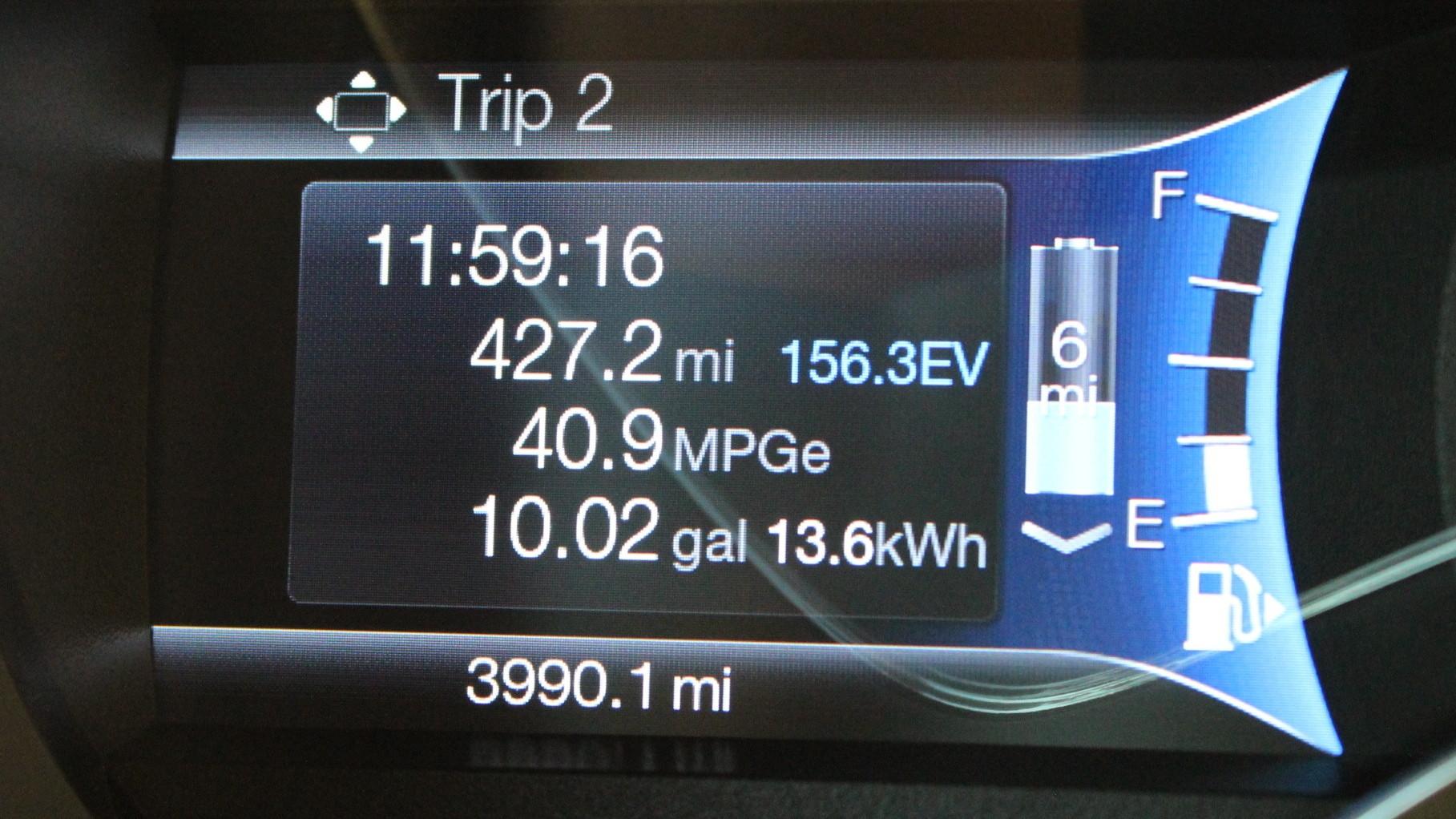 Trip display  -  Ford EcoGuide gauge cluster  -  2013 Ford C-Max Energi