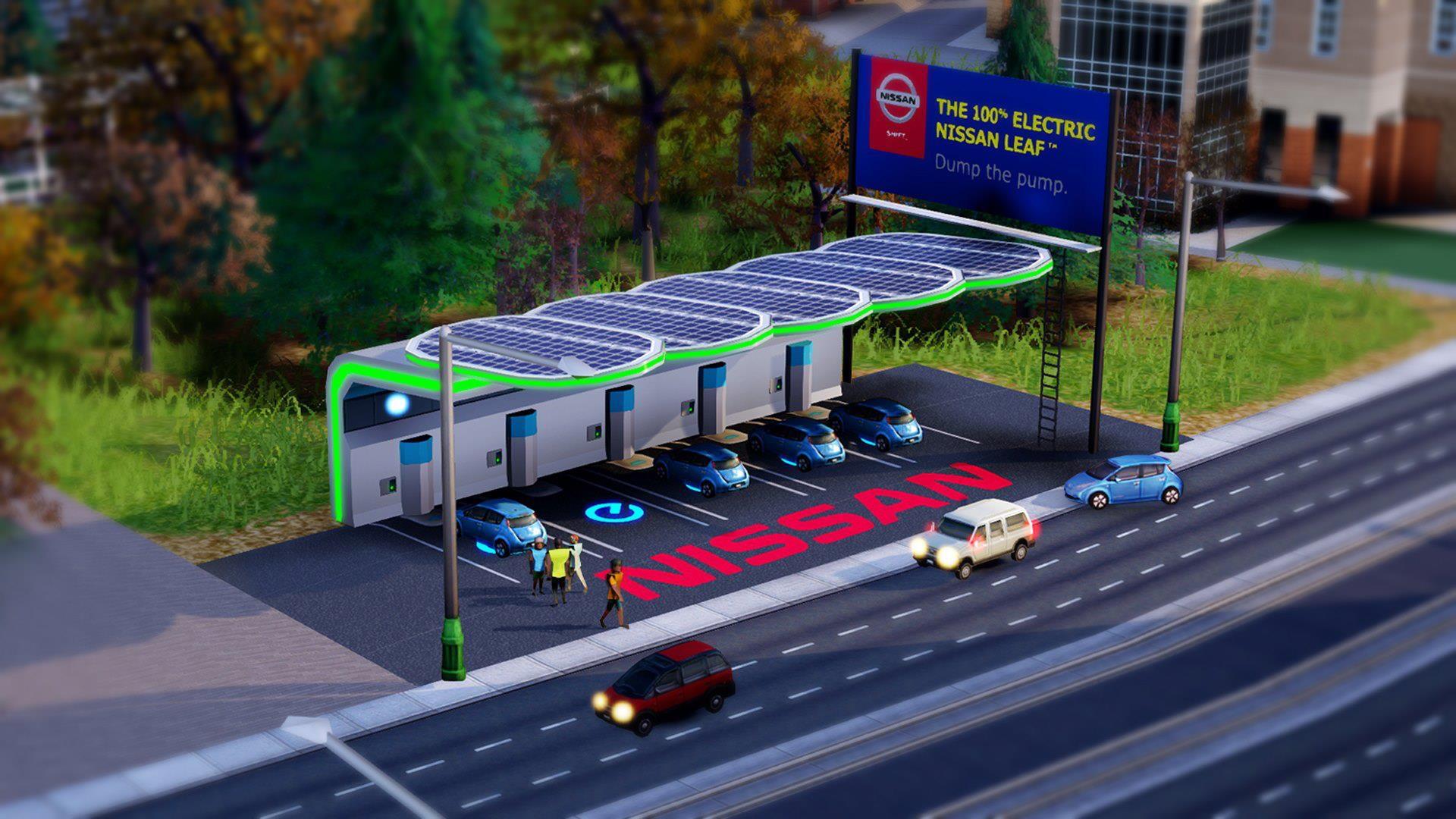 Nissan Leaf solar charging station on EA's SimCity game