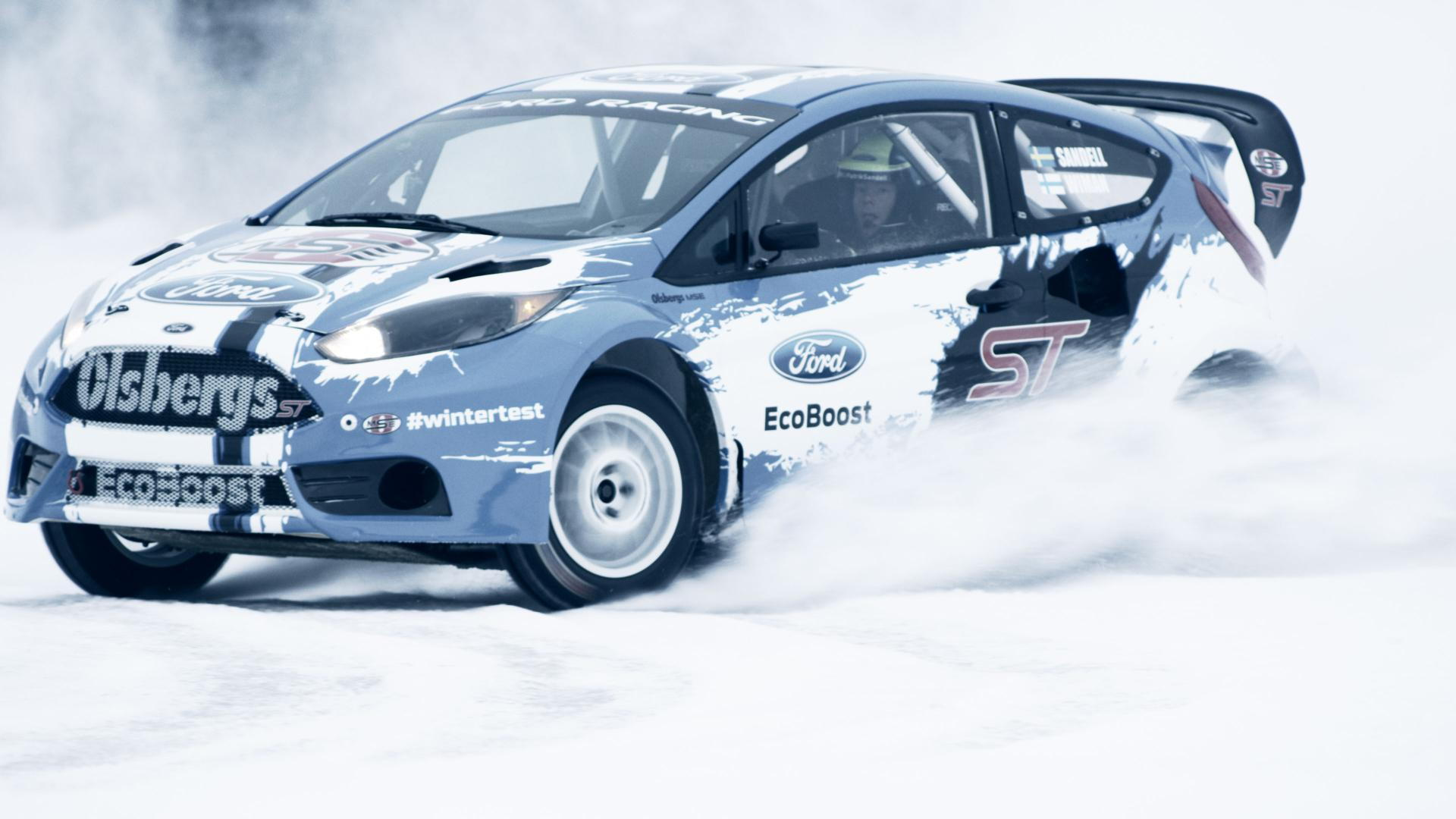2014 Ford Fiesta ST rallycross car winter testing