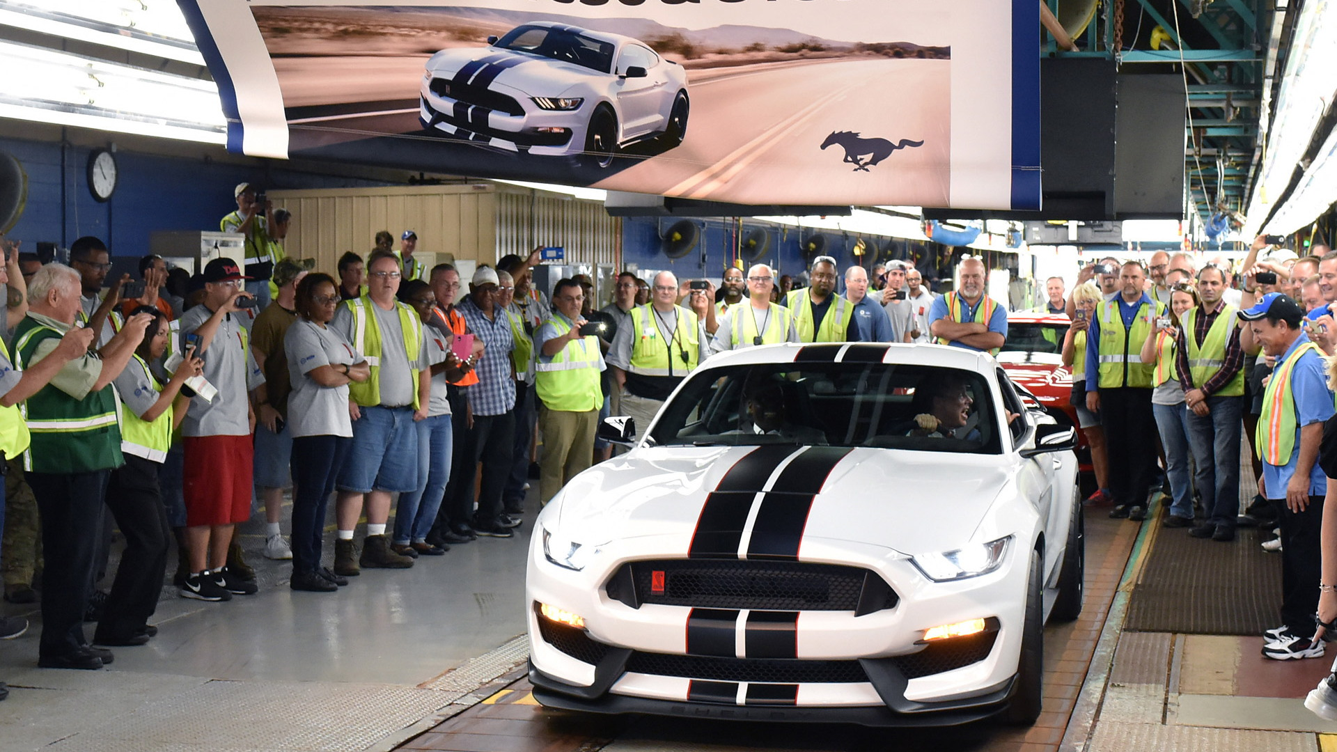 First Ford Mustang Shelby GT350R rolls off the line at Flat Rock Assembly Plant in Michigan