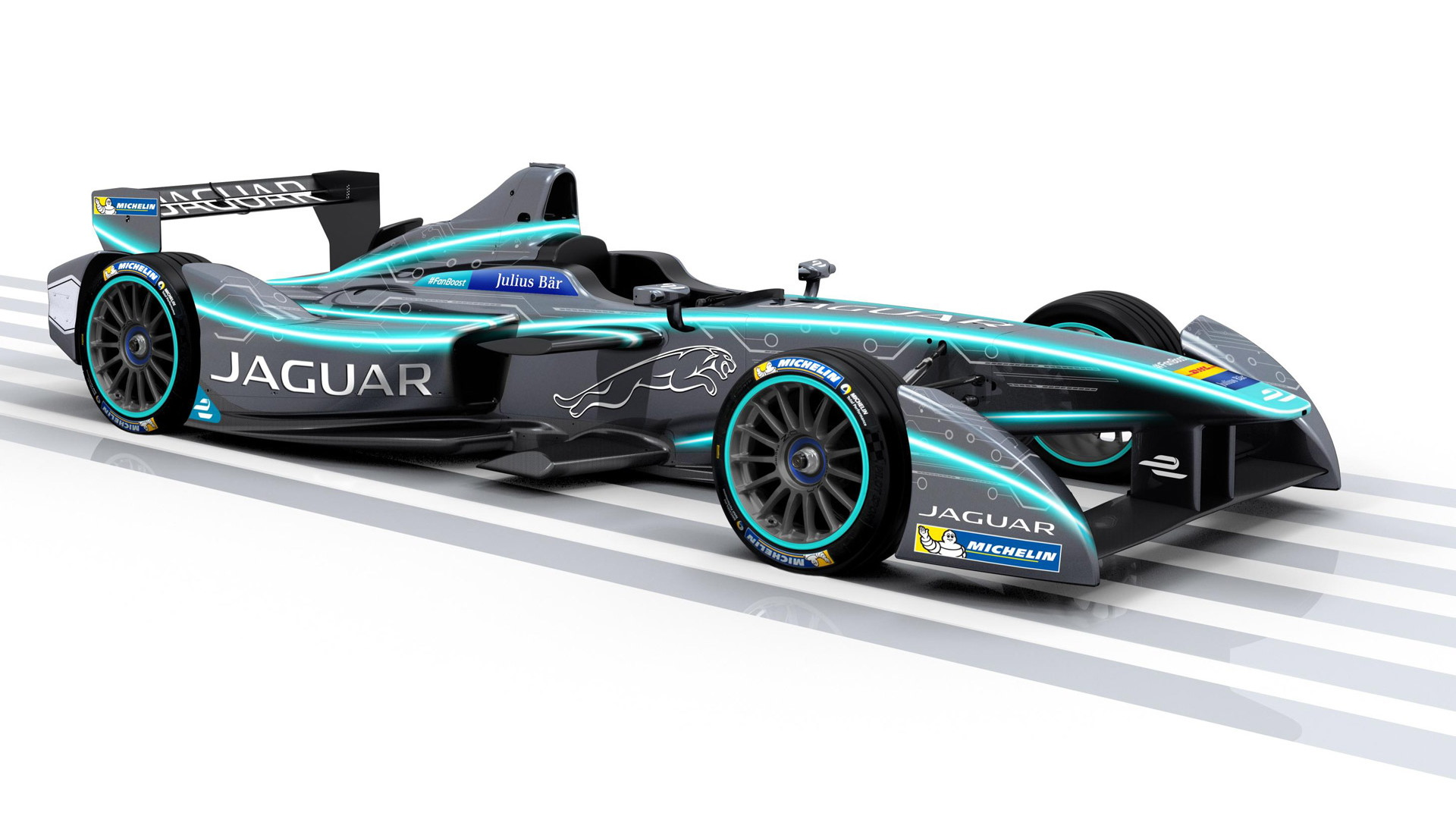 Jaguar electric race car for season three of the Formula E Championship