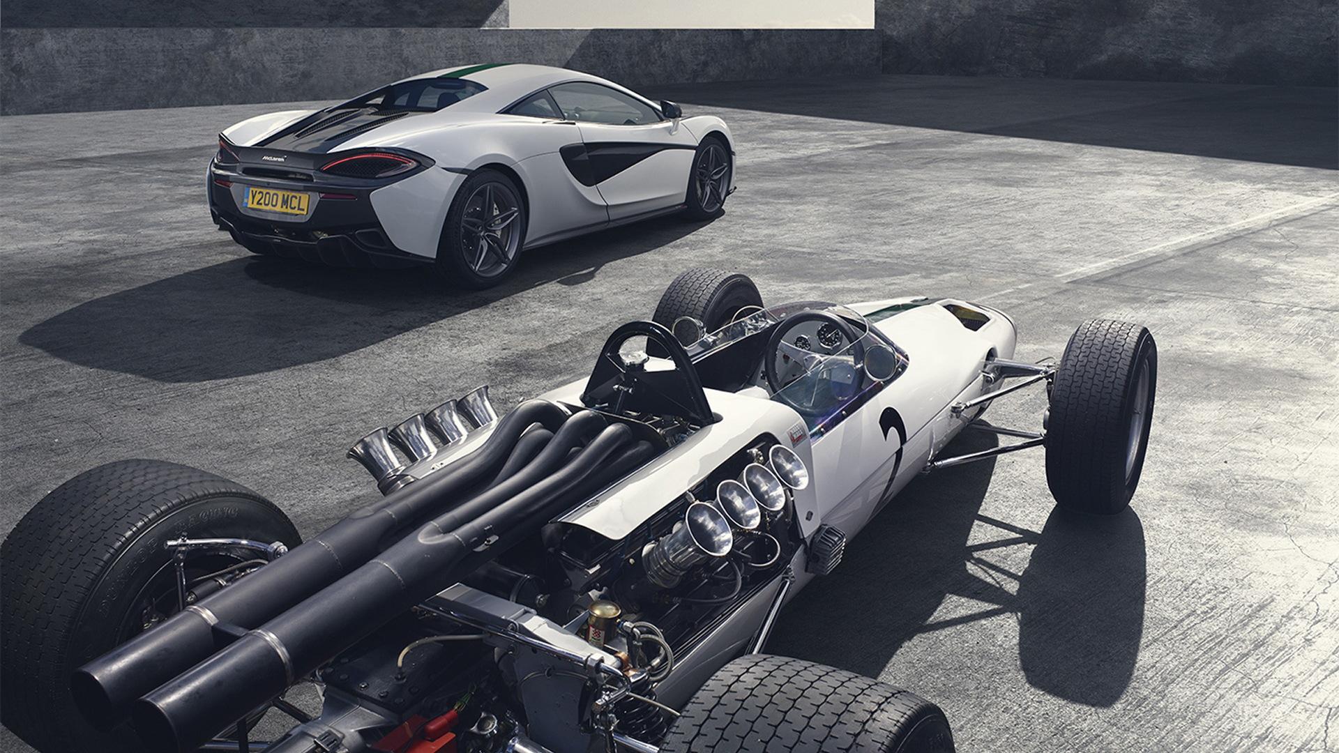 1966 McLaren M2B Formula One car and 2016 McLaren 570S