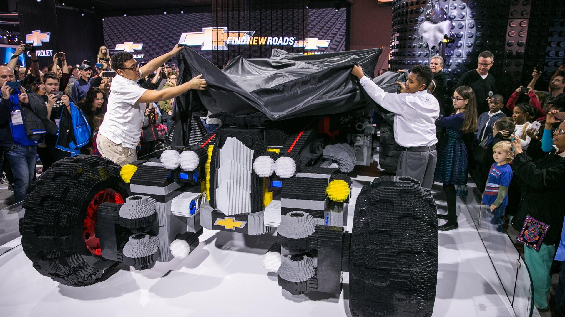 Life-size Lego Batmobile built by Chevrolet, 2017 Detroit auto show