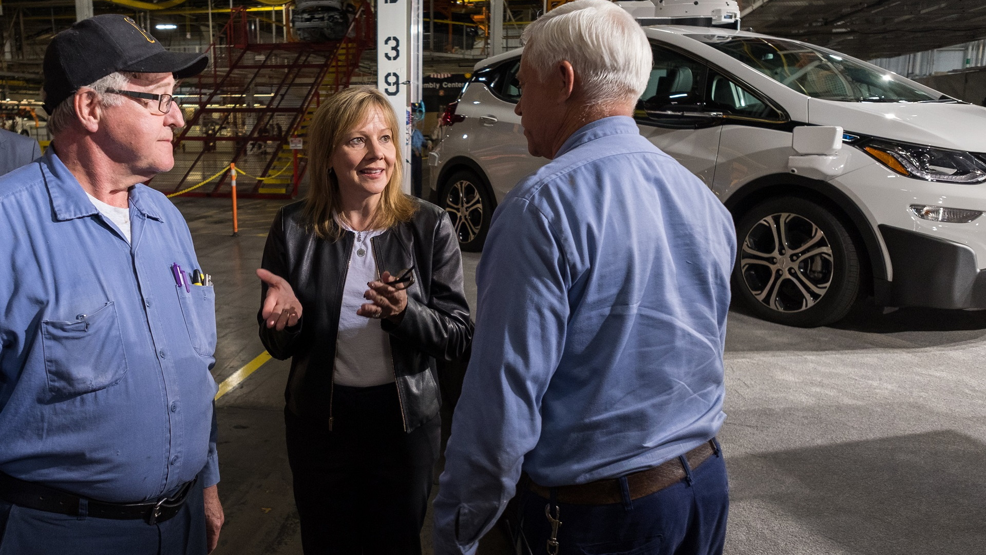 One of 130 second-generation self-driving Chevrolet Bolt EV electric cars, with GM CEO Mary Barra