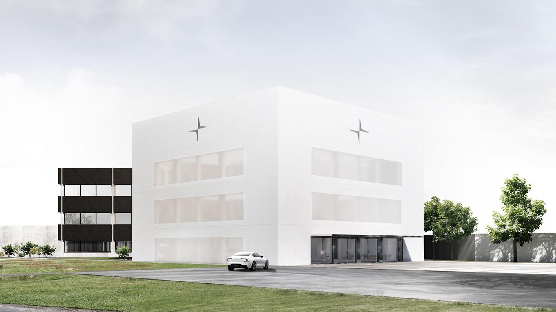 Artist's impression of Polestar's headquarters under construction in Torslanda, Sweden