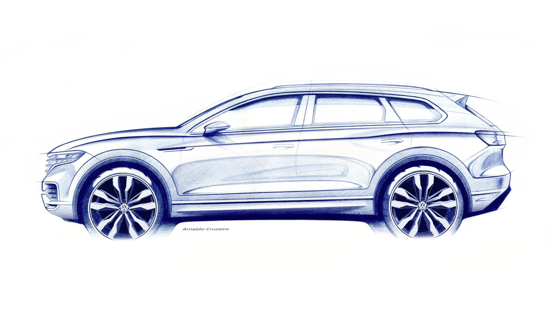 Teaser for 2018 Volkswagen Touareg debuting on March 23, 2018