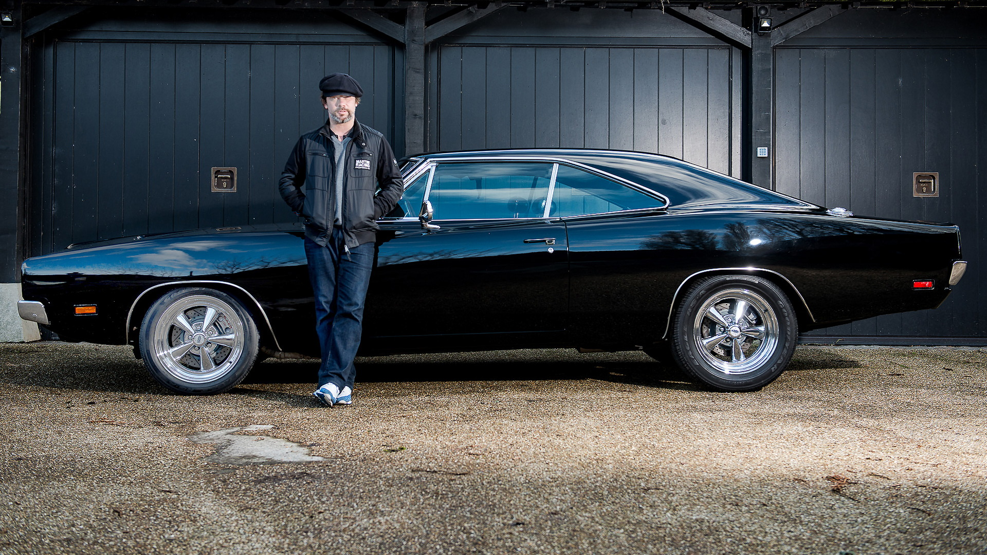 """Jay Kay with his 1969 Dodge Charger """"Bullitt"""" replica"""