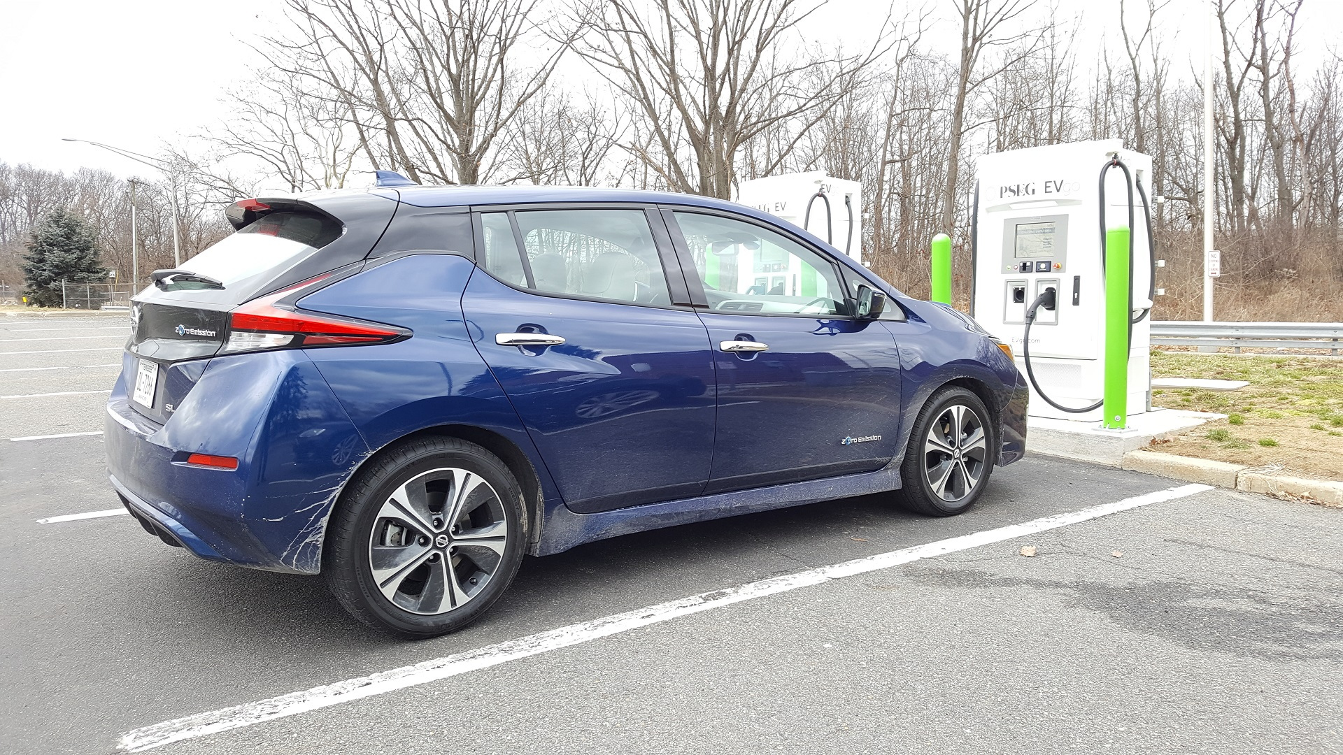2018 Nissan Leaf with EVgo fast charger at NJ Turnpike Molly Pitcher travel plaza, Feb 2018