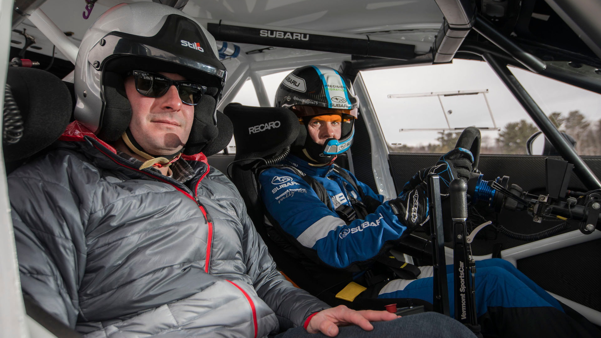 Joel Feder and David Higgins in Subaru WRX race car