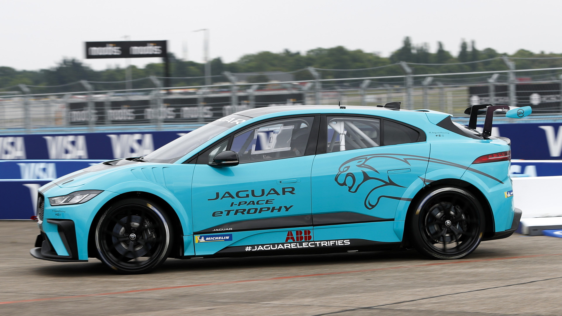 Jaguar I-Pace eTrophy race car dynamic debut during 2018 Formula E Berlin ePrix