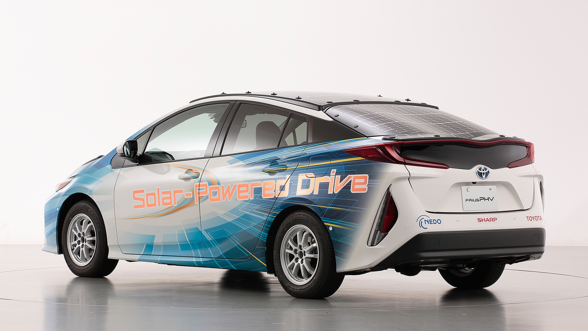 Toyota Prius Prime PHV test vehicle with solar panels in Japan