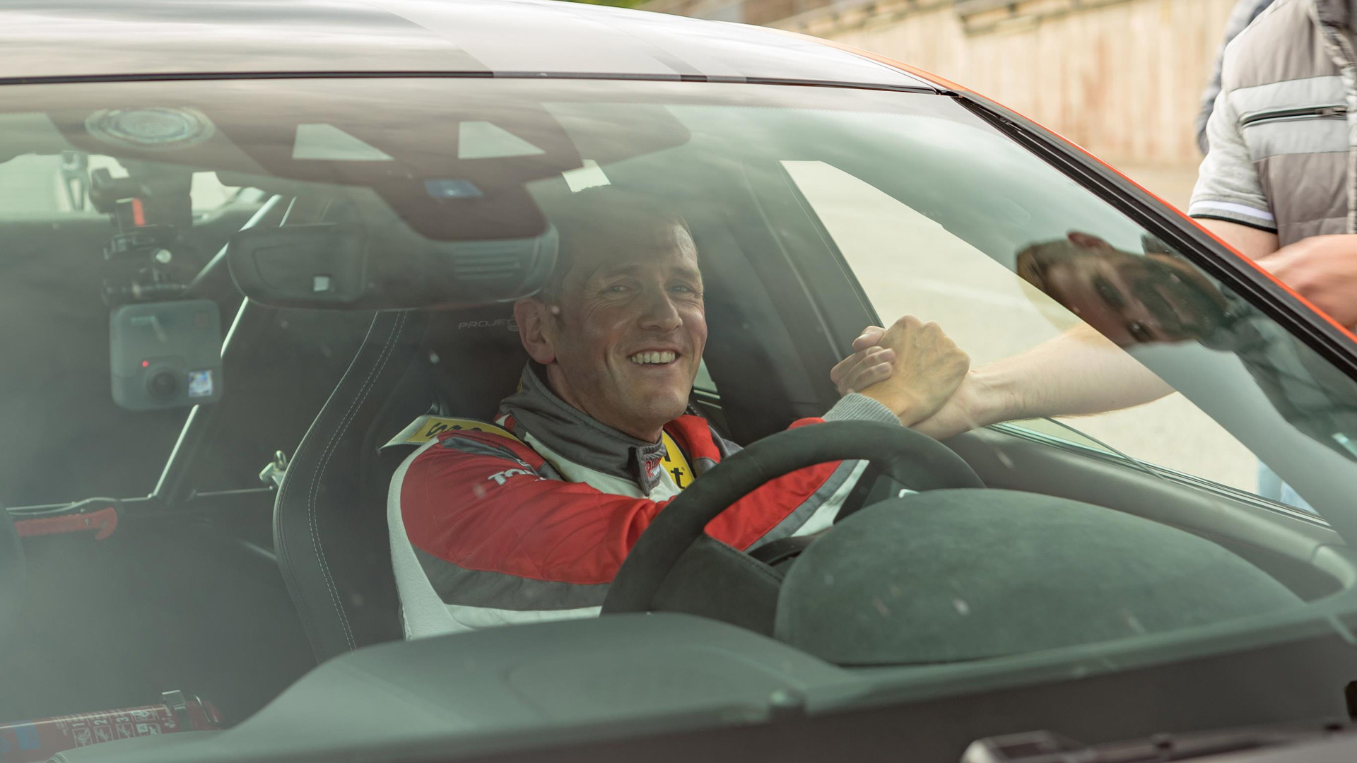 Vincent Radermecker after setting a 7:18.361 Nürburgring lap time with the Jaguar XE SV Project 8