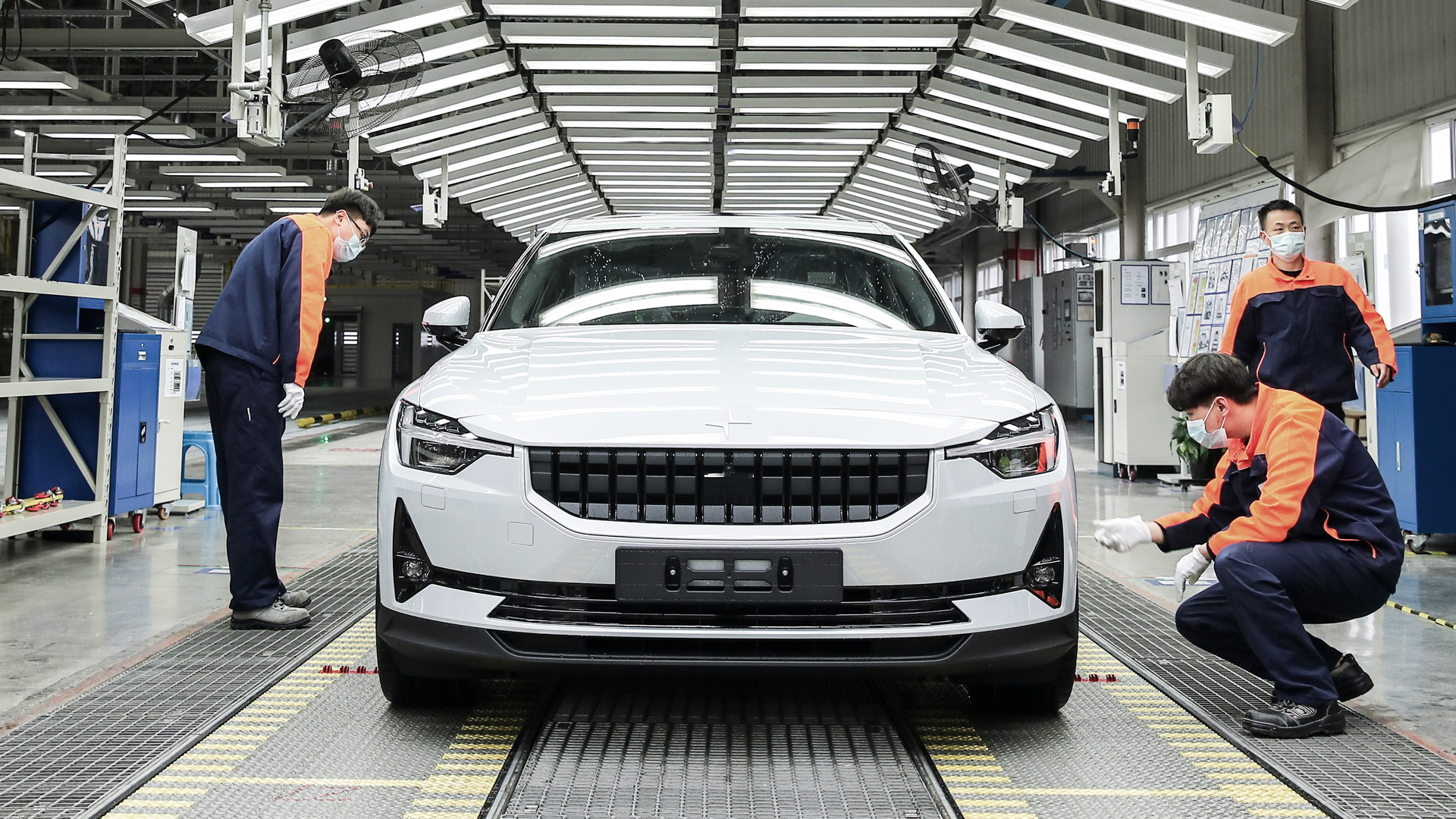 Polestar 2 production at plant in Luqiao, China