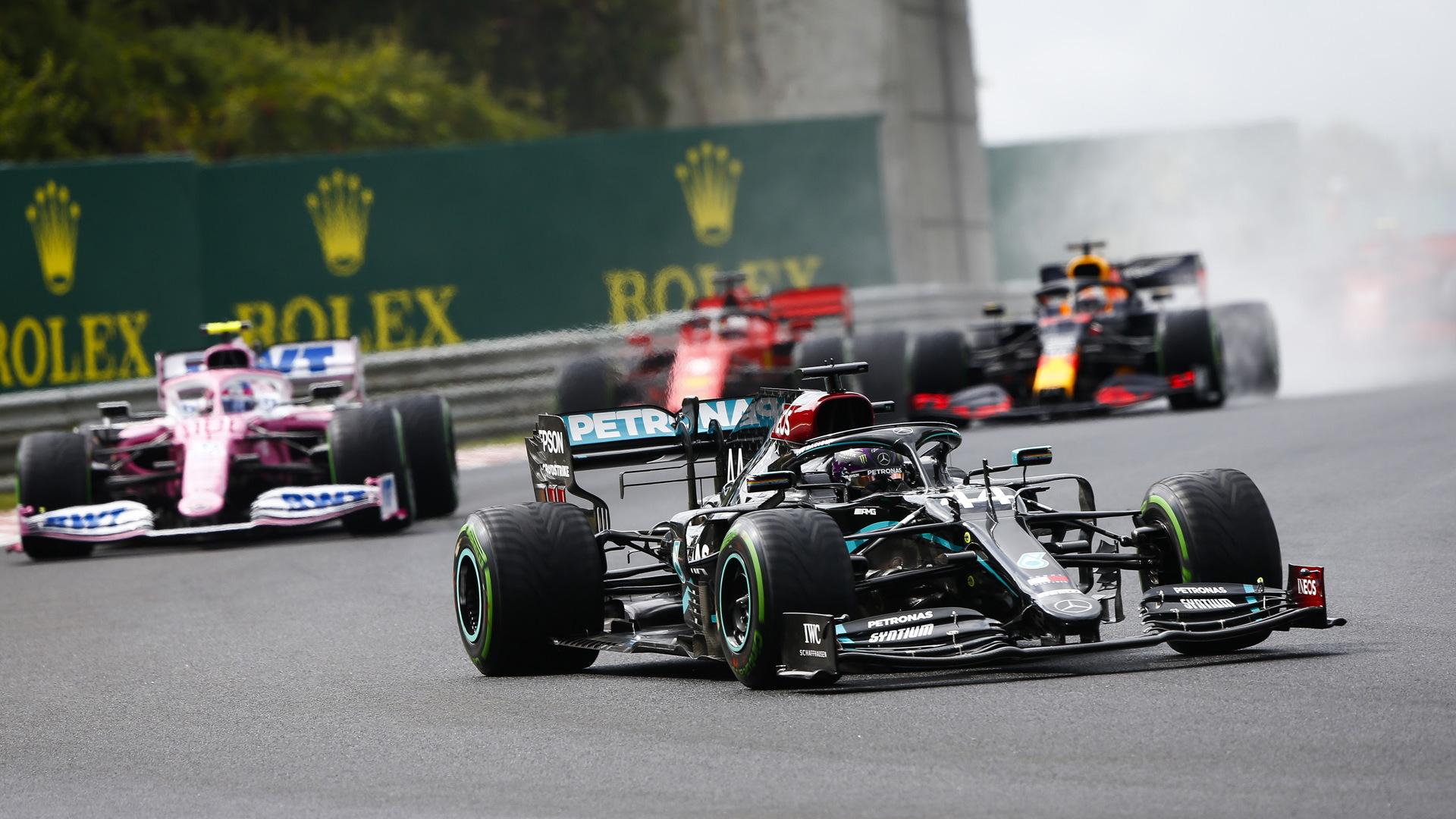 Mercedes-AMG's Lewis Hamilton at the 2020 Formula One Hungarian Grand Prix