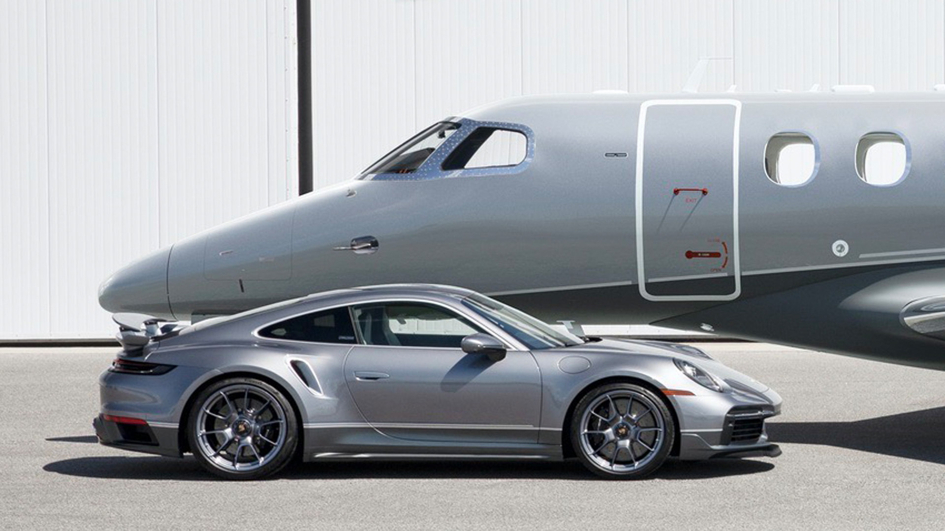 "2021 Porsche 911 Turbo S ""Duet"" and Embraer Phenom 300E"