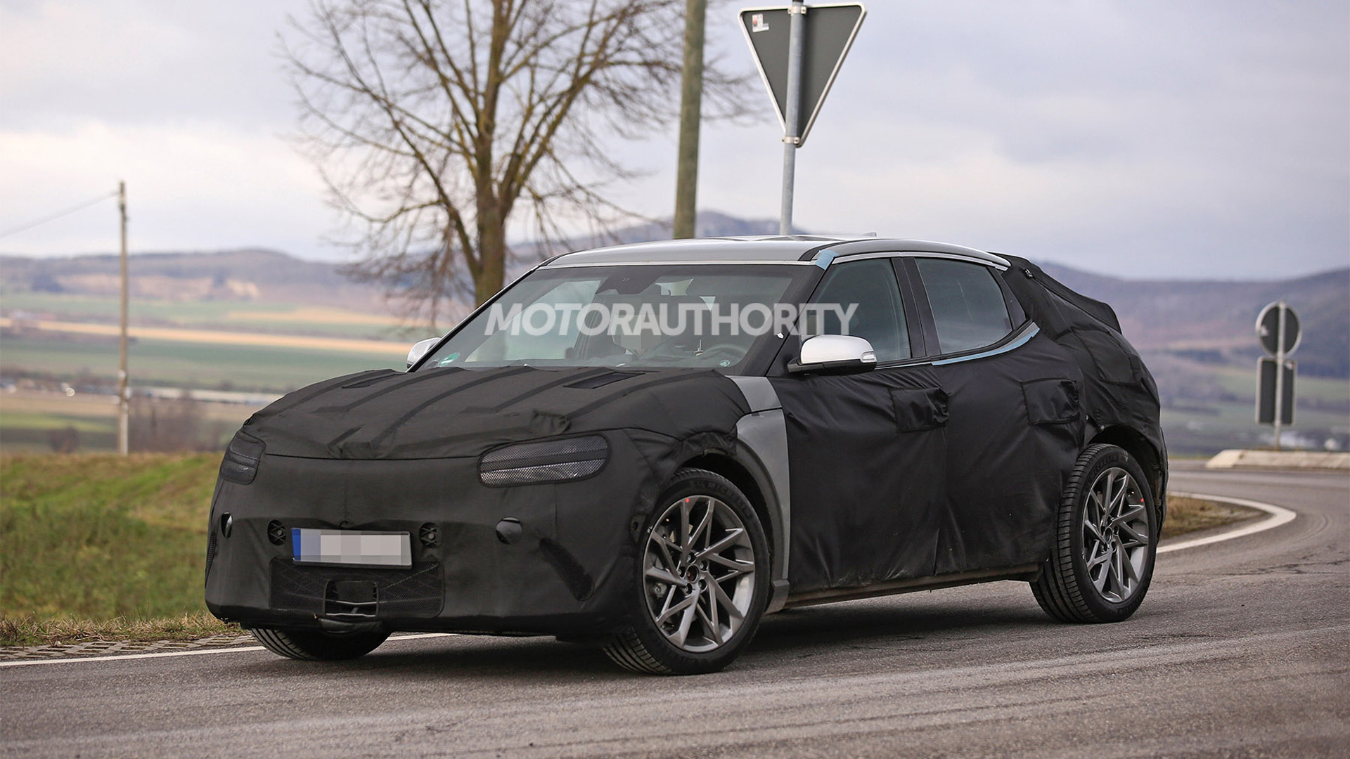 2022 Genesis JW electric crossover SUV spy shots - Photo credit: S. Baldauf/SB-Medien