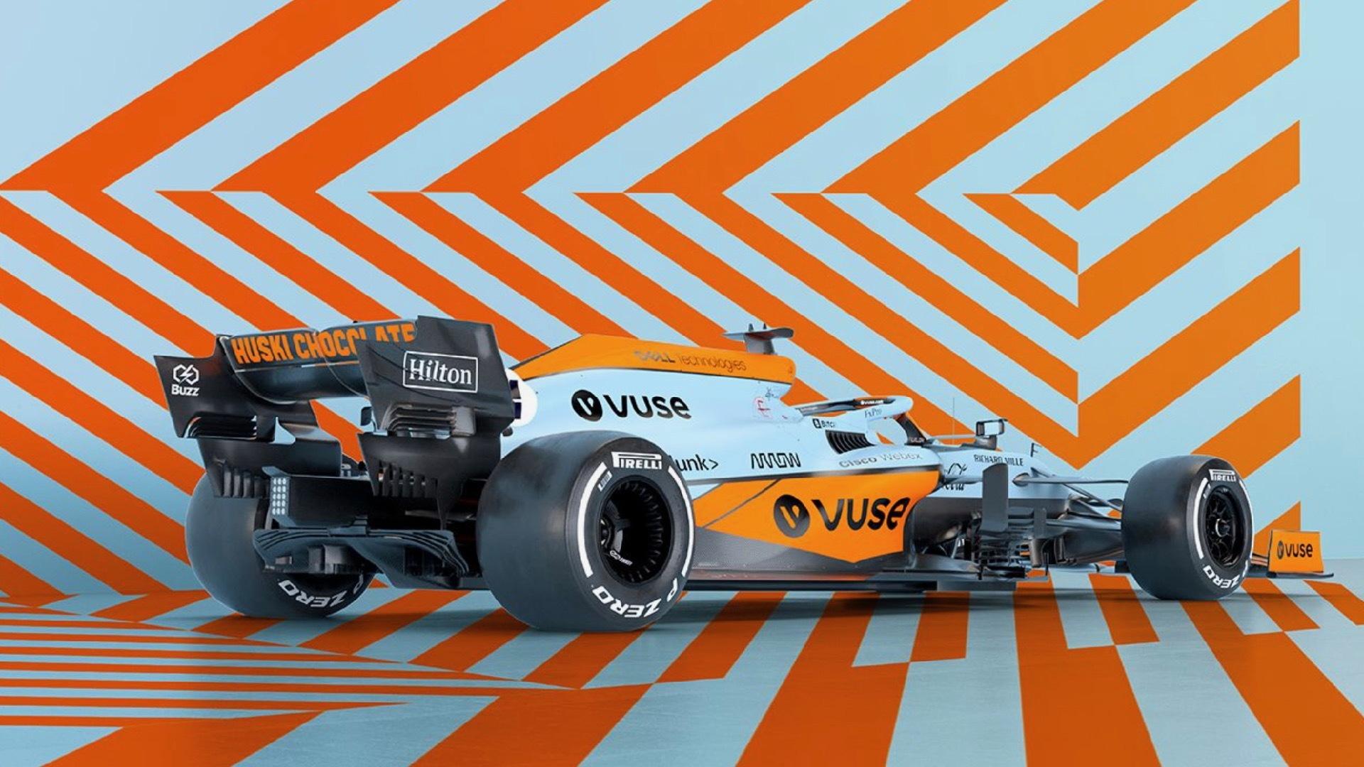 McLaren MCL35M Formula One car in Gulf livery