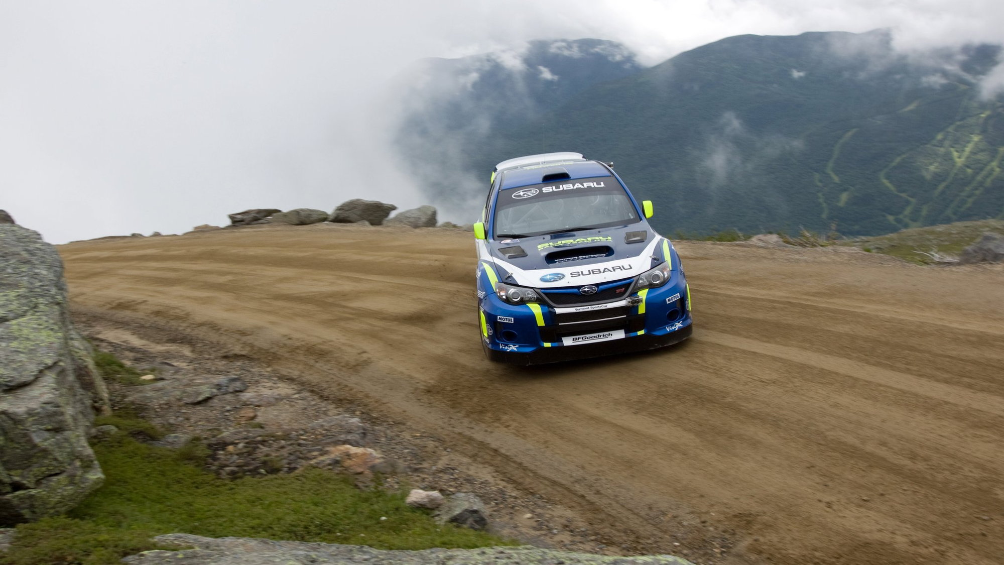 David Higgins drives a Subaru WRX to new Mt. Washington record