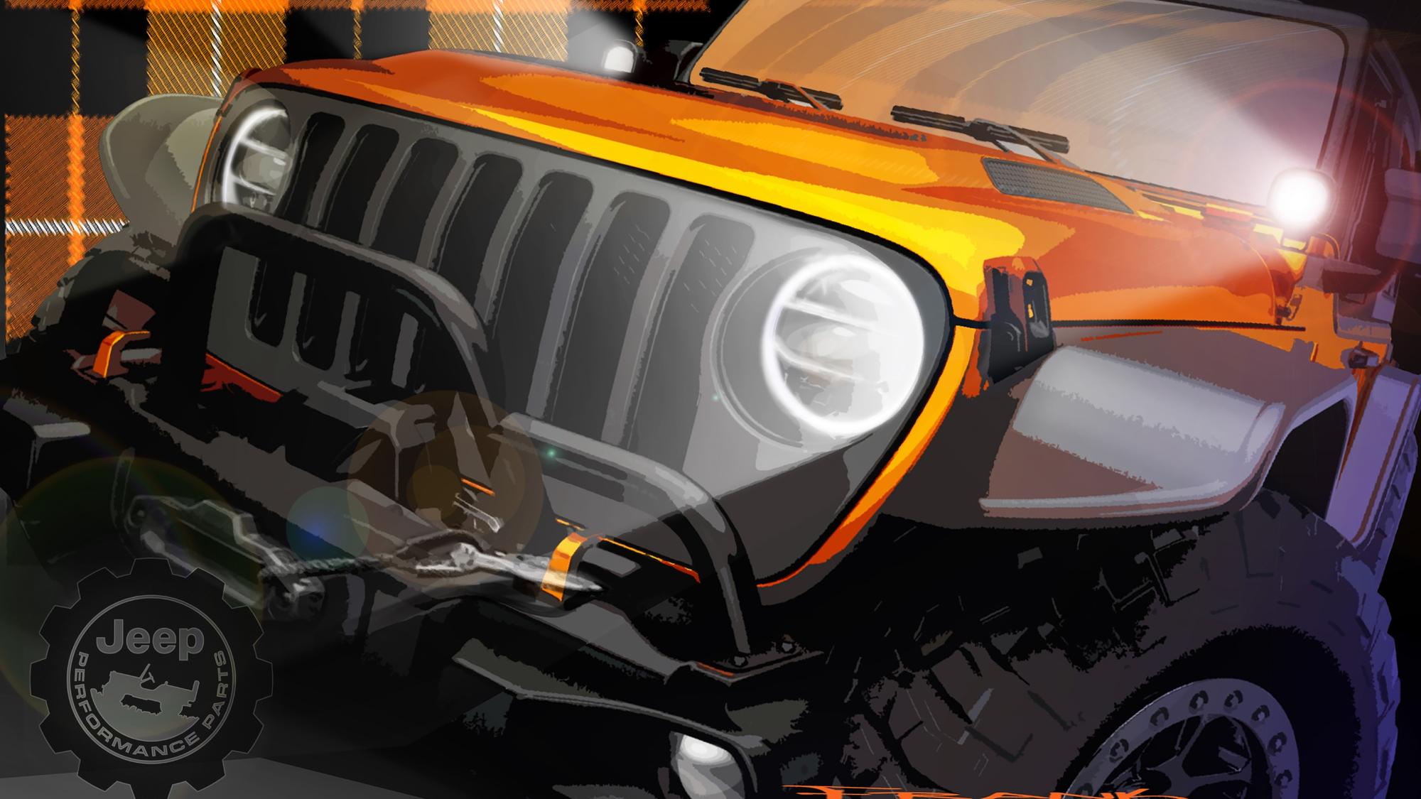 Teaser for Jeep Wrangler concept debuting at 2021 Moab Easter Safari